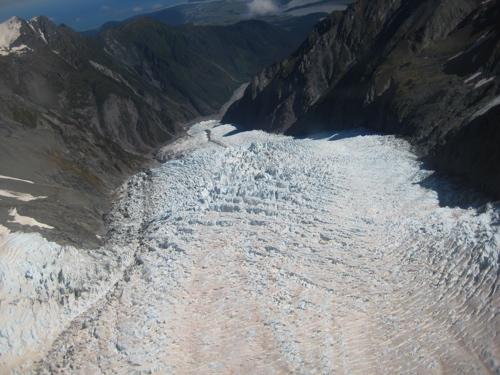 Looking down Fox Glacier