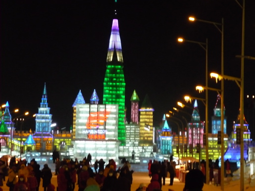 Gigantic pagodas, Anglo churches and ice slides are illuminated at the Harbin International Ice Festival