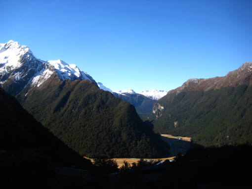 Looking back at the Routeburn Flats