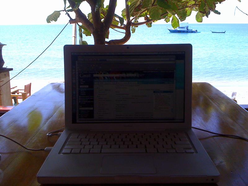 Working on a Thailand Beach
