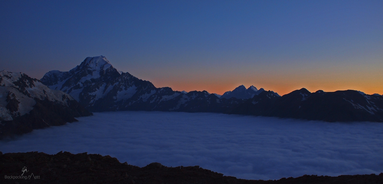 Sun rising over Aoraki Mt Cook